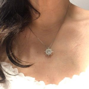 Jewelry - Sterling Silver 925 Floating CZ Star Pendant chain